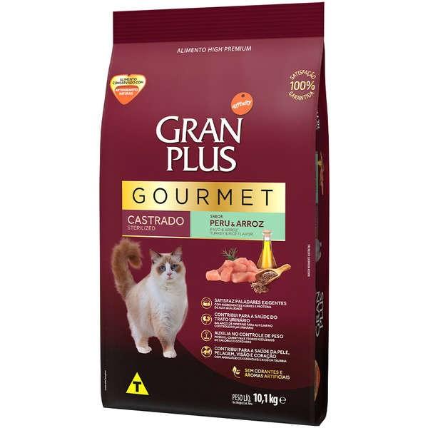 Ração Gran Plus Gourmet Gatos Castrados Peru e Arroz (10,1kg) - Affinity Guabi