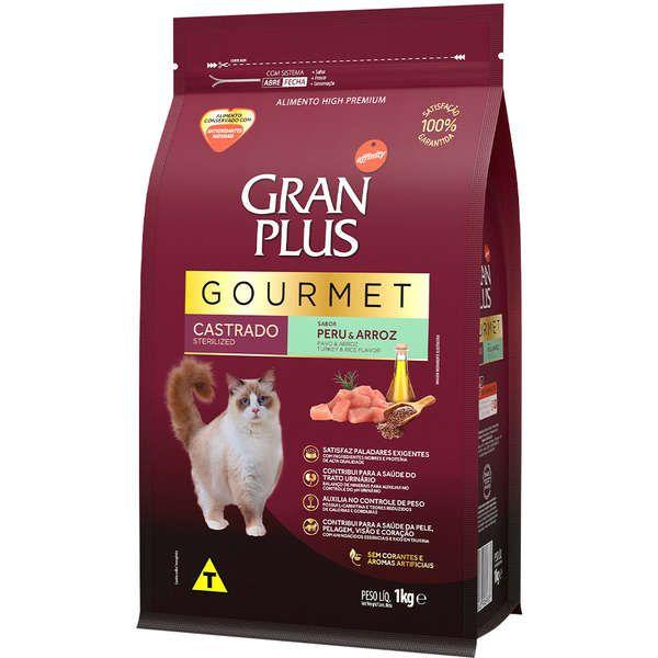 Ração Gran Plus Gourmet Gatos Castrados Peru e Arroz (1 kg) - Affinity Guabi
