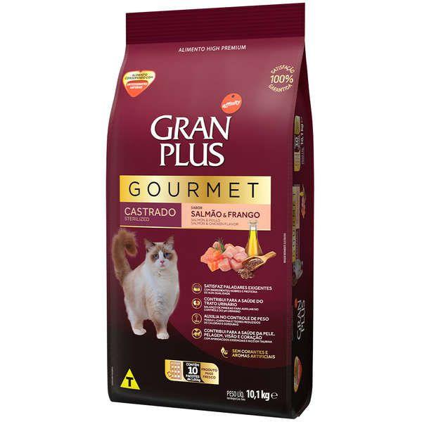 Ração Gran Plus Gourmet Gatos Castrados Salmão e Frango (10 pacotes de 1 kg cada ) - Affinity Guabi