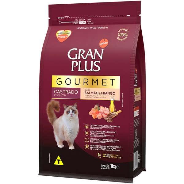 Ração Gran Plus Gourmet Gatos Castrados Salmão e Frango (1 kg) - Affinity Guabi