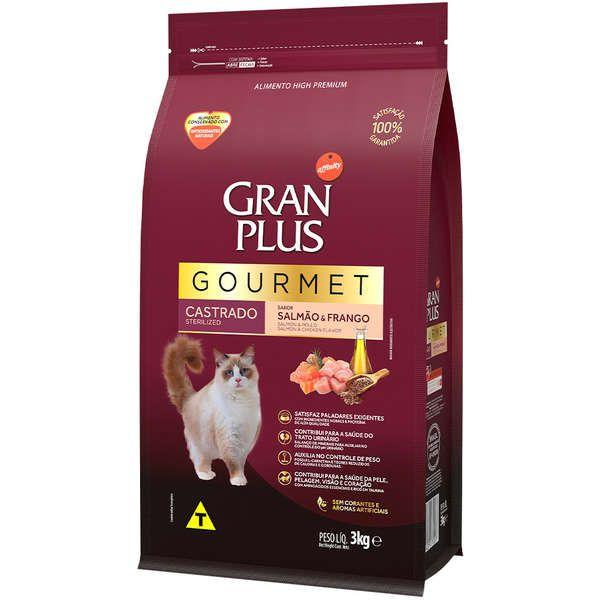 Ração Gran Plus Gourmet Gatos Castrados Salmão e Frango (3 kg) - Affinity Guabi