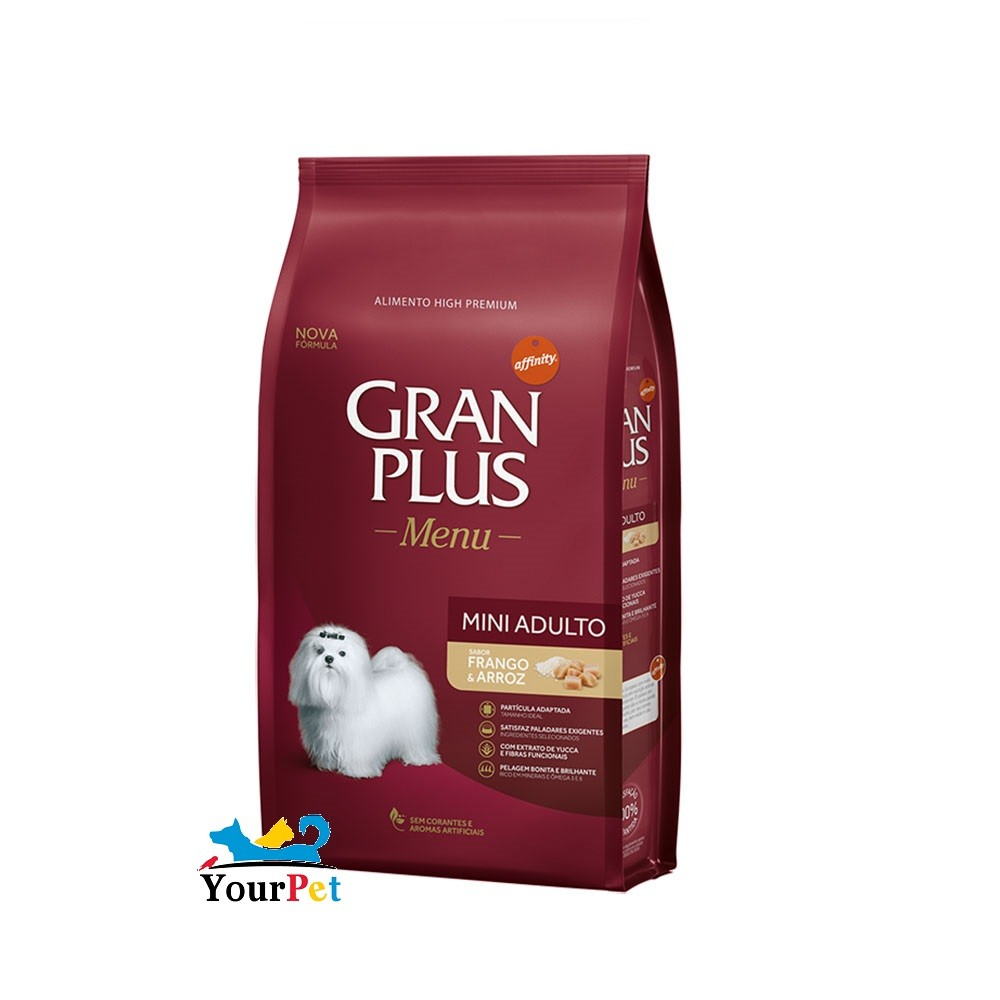 Ração Gran Plus Menu Mini Adulto Frango e Arroz para Cães Adultos de Raças Mini e Pequenas (15 kg) - Guabi