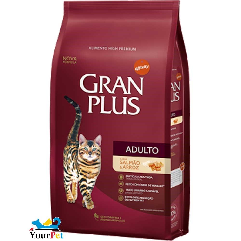 Ração Gran Plus Salmão e Arroz para Gatos Adultos (1 kg) - Guabi
