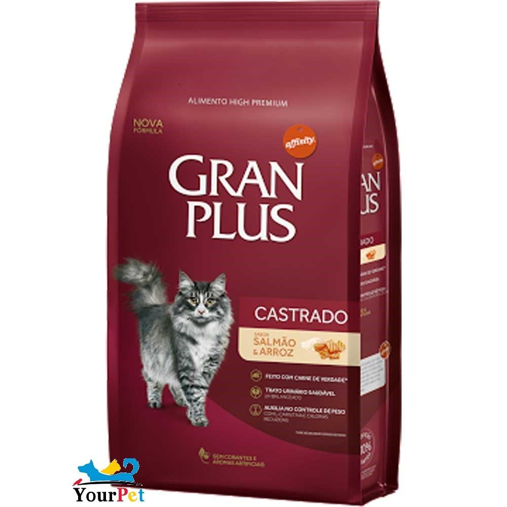 Ração Gran Plus Salmão e Arroz para Gatos Castrados (3 kg) - Guabi