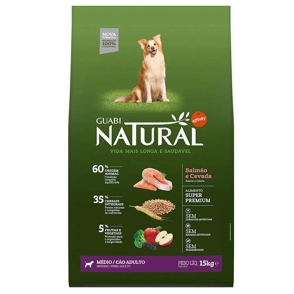 Ração Guabi Natural Cães Adultos Médios Salmão e Cevada (15 kg) - Affinity Guabi