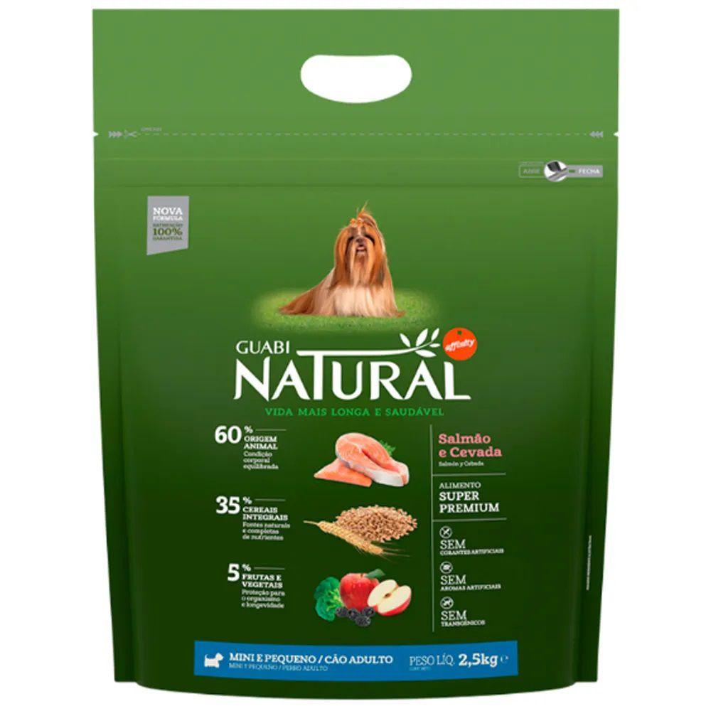 Ração Guabi Natural Cães Adultos Miniaturas e Pequenos Salmão e Cevada (2,5 kg) - Affinity Guabi
