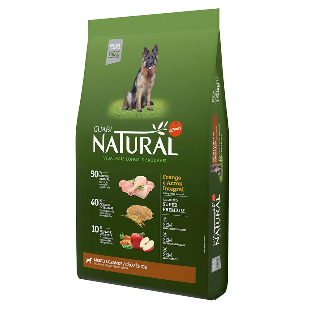 Ração Guabi Natural Cães Senior Médios e Grandes Frango e Arroz Integral (15 kg) - Affinity Guabi