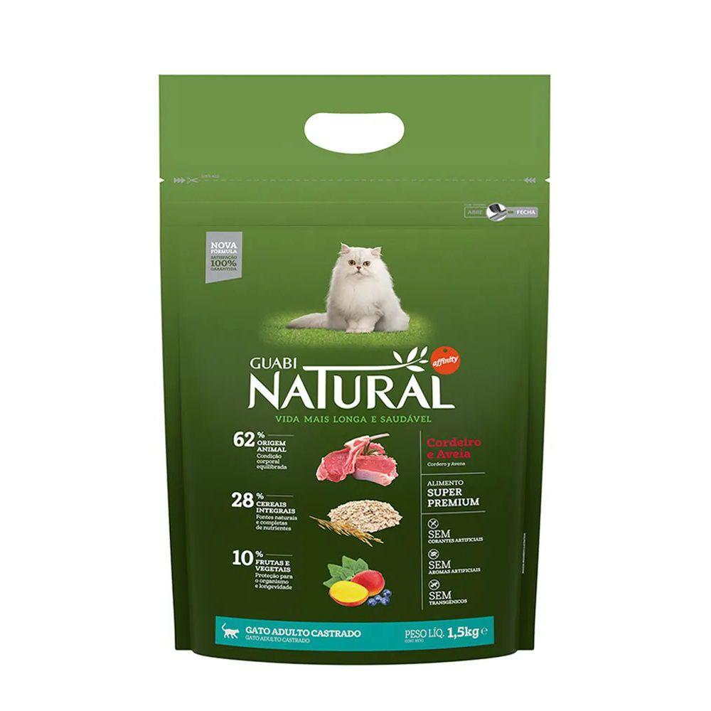 Ração Guabi Natural Gatos Castrados Cordeiro E Aveia (1,5kg) - Affinity Guabi
