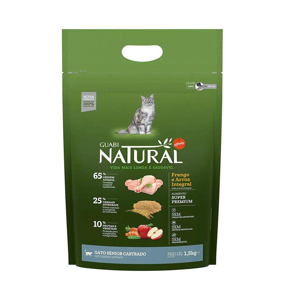 Ração Guabi Natural Gatos Castrados Senior Frango e Arroz Integral (1,5kg) - Affinity Guabi