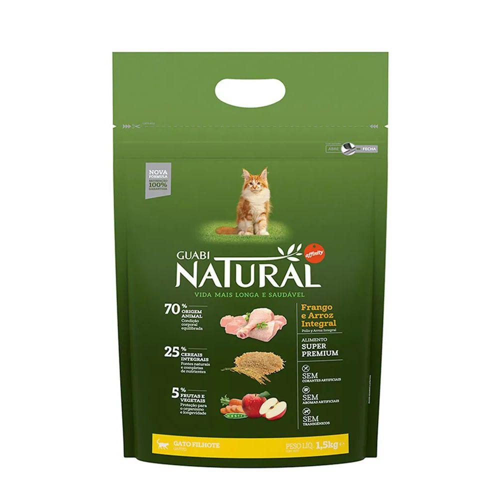 Ração Guabi Natural Gatos Filhotes Frango e Arroz Integral (1,5 kg) - Affinity Guabi