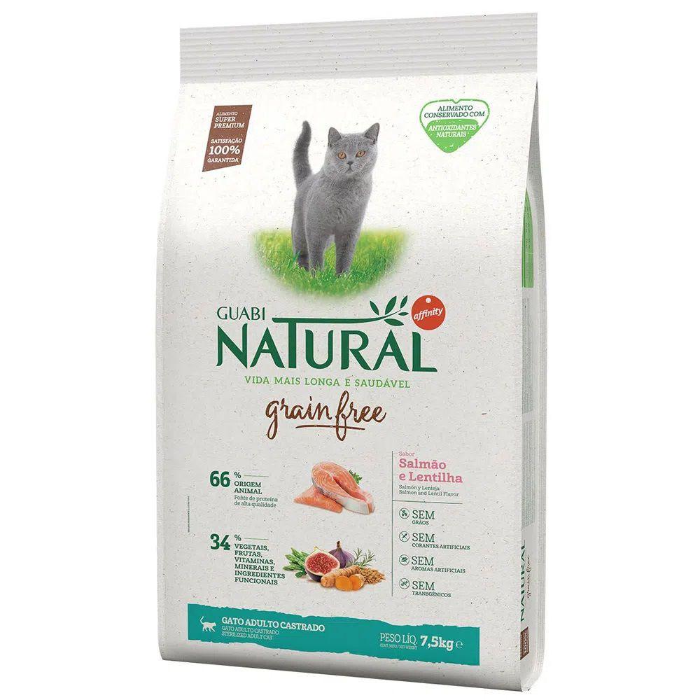 Ração Guabi Natural Grain Free Gatos Castrados Salmão e Lentilha (7,5 Kg) - Affinity Guabi