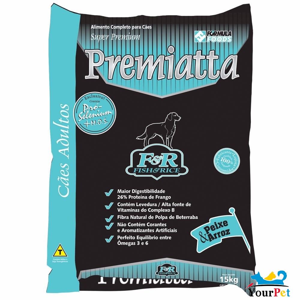 Ração Premiatta Fish & Rice Mini Bits para Cães Adultos de Raças Mini e Pequenas (15 kg)