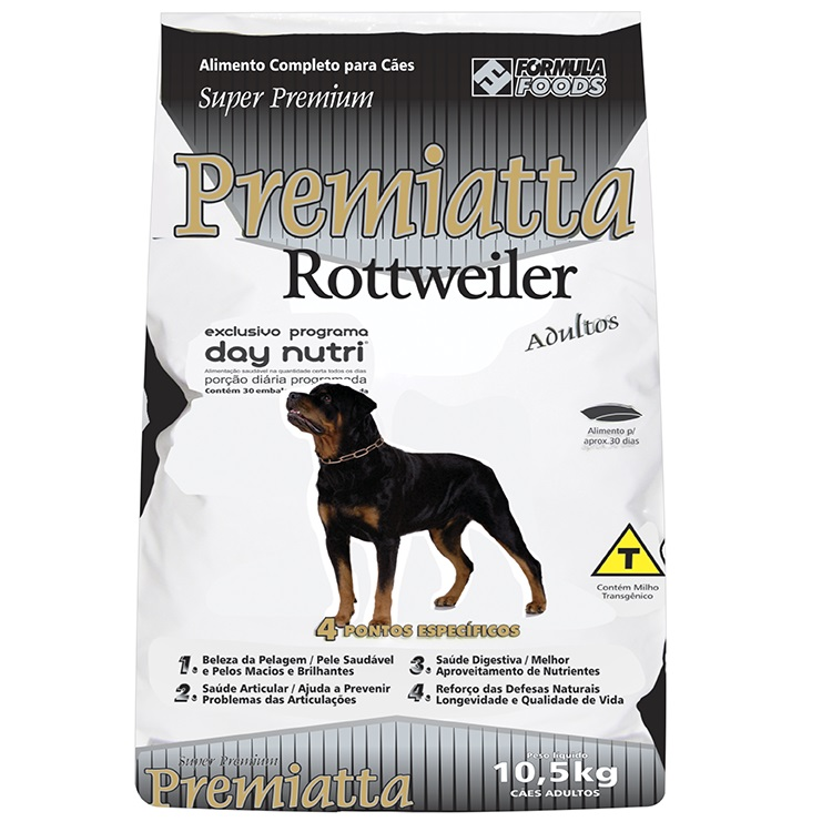 Ração Premiatta Raças Específicas Rottweiler para Cães Adultos (10,5 Kg = 30 x 350g)