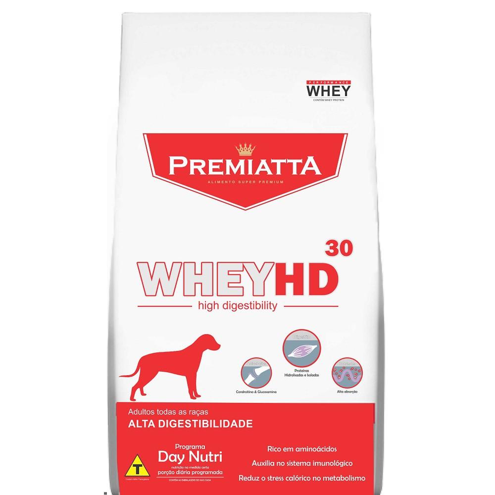Ração Premiatta Whey HD 30 para Cães adultos de Raças Médias e Grandes (12 kg=30x400g)