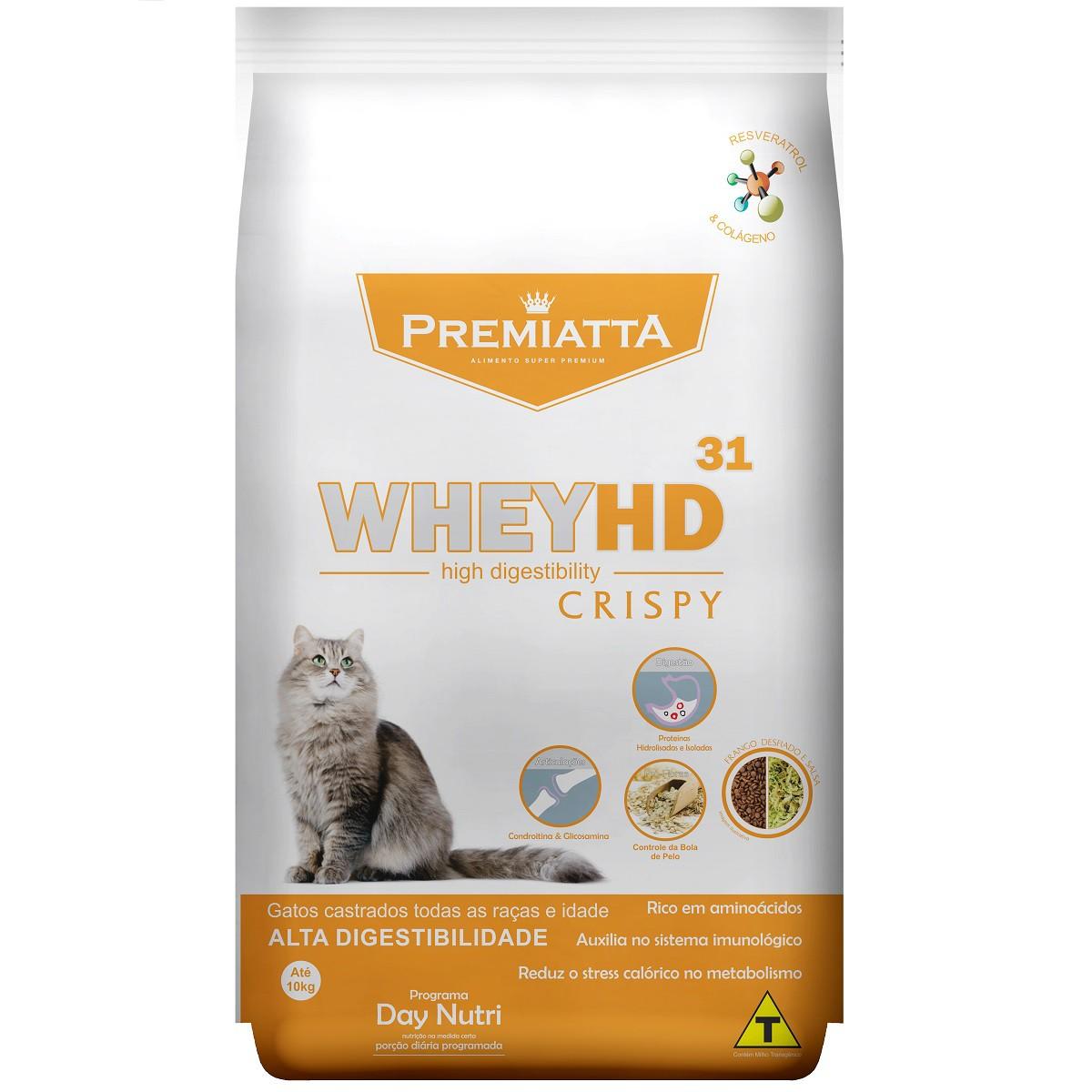 Ração Premiatta Whey HD 31 Crispy para Gatos Castrados de todas as raças e idades (3 kg=60x50g)