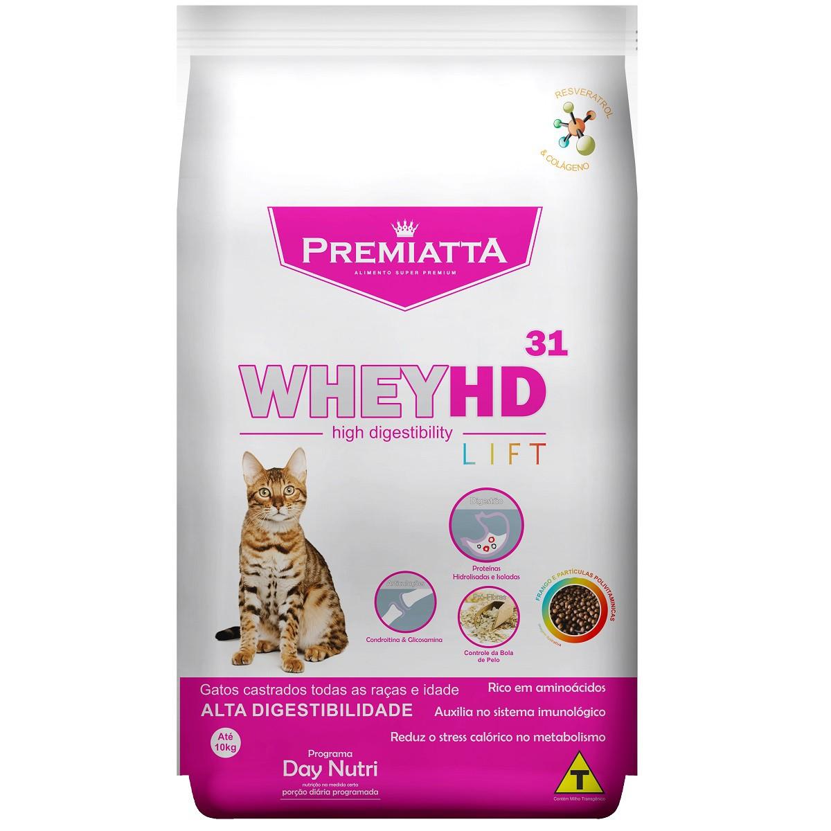Ração Premiatta Whey HD 31 Lift para Gatos Castrados de todas as raças e idades (1 kg=20x50g)