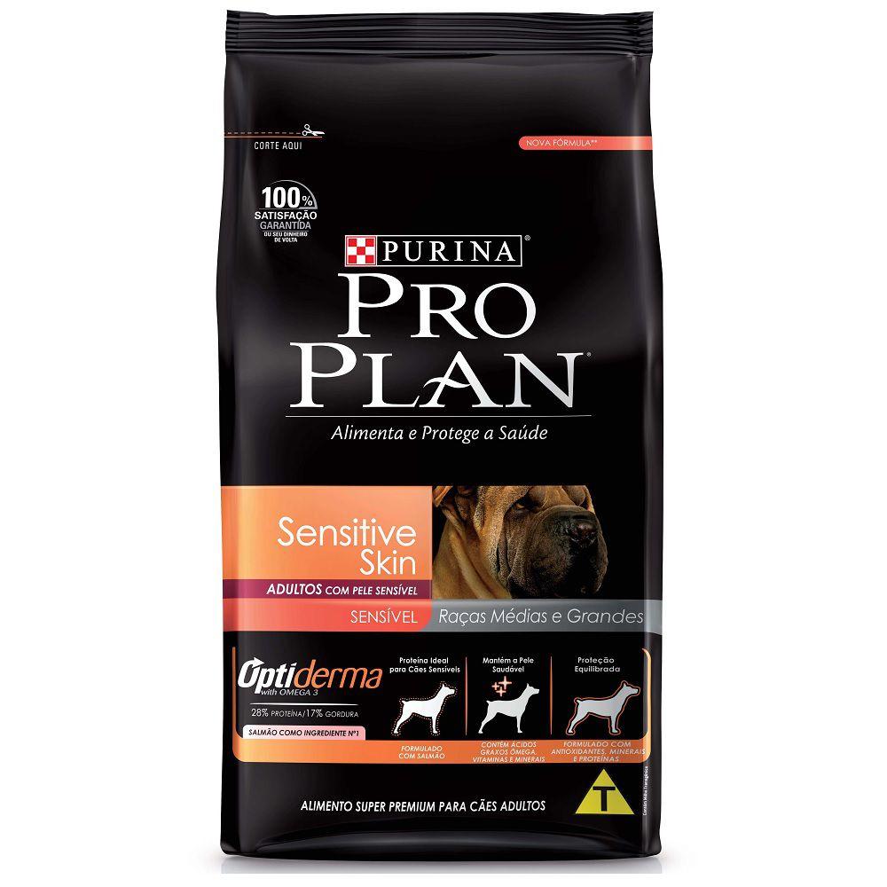 Ração Pro Plan Sensitive Skin para Cães Adultos de Raças Médias e Grandes com Pele Sensível - Nestlé Purina (10,1kg)