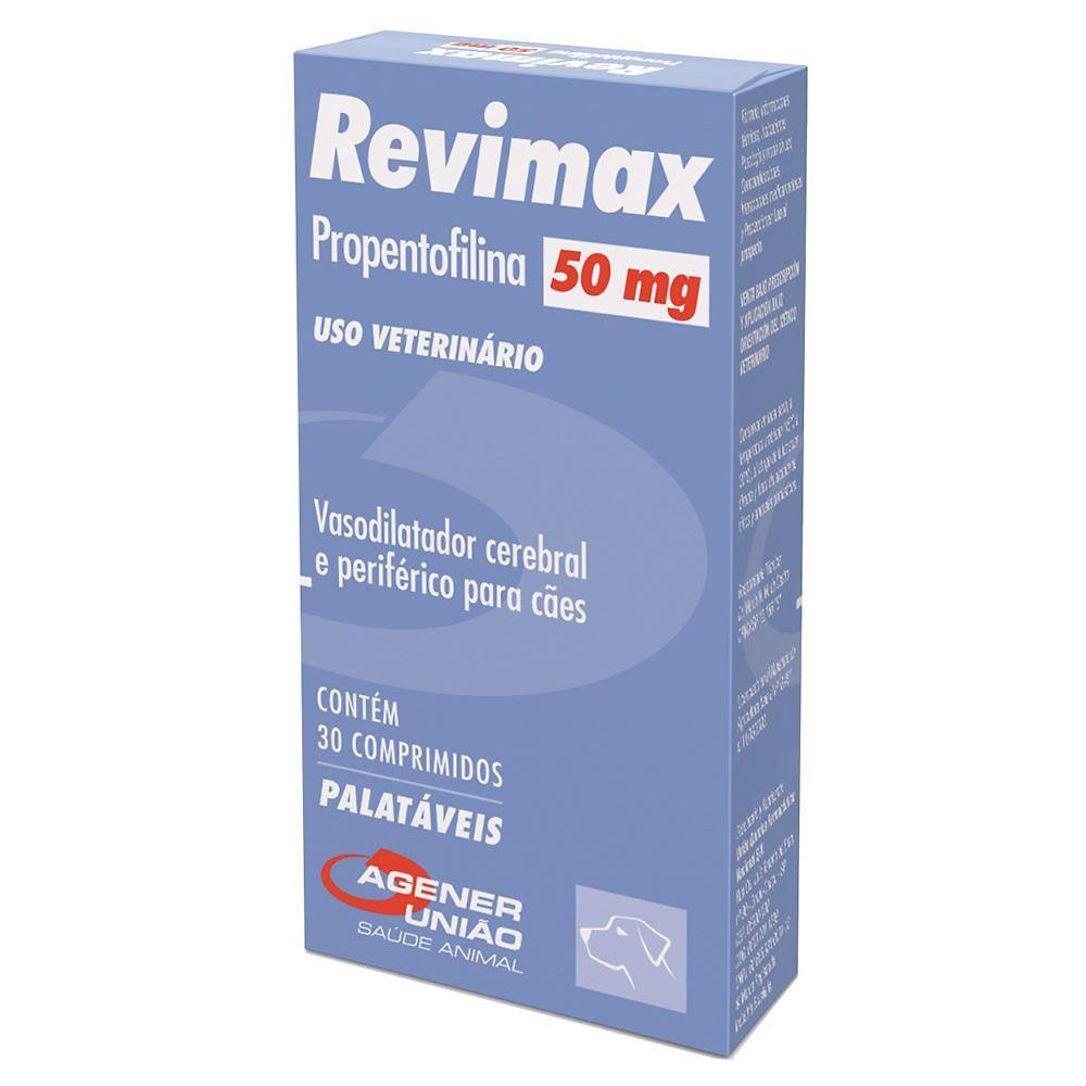 Revimax 50 mg Vasodilatador cerebral e periférico à base de Propentofilina para Cães  Agener (30 comprimidos palatáveis)