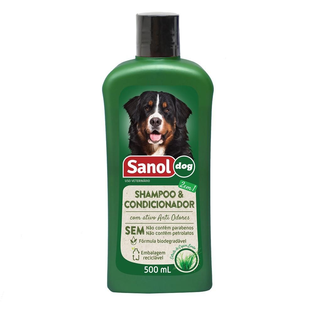 Shampoo e Condicionador 2 em 1 Sanol Dog para Cães, Equinos e Bovinos (500 ml) - Total Química