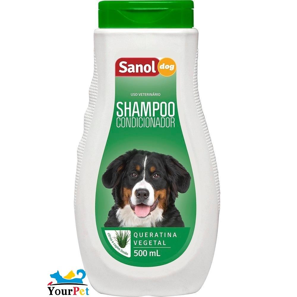 Shampoo e Condicionador 2 em 1 Sanol Dog para Cães, Equinos e Bovinos - Total Química (500 ml)