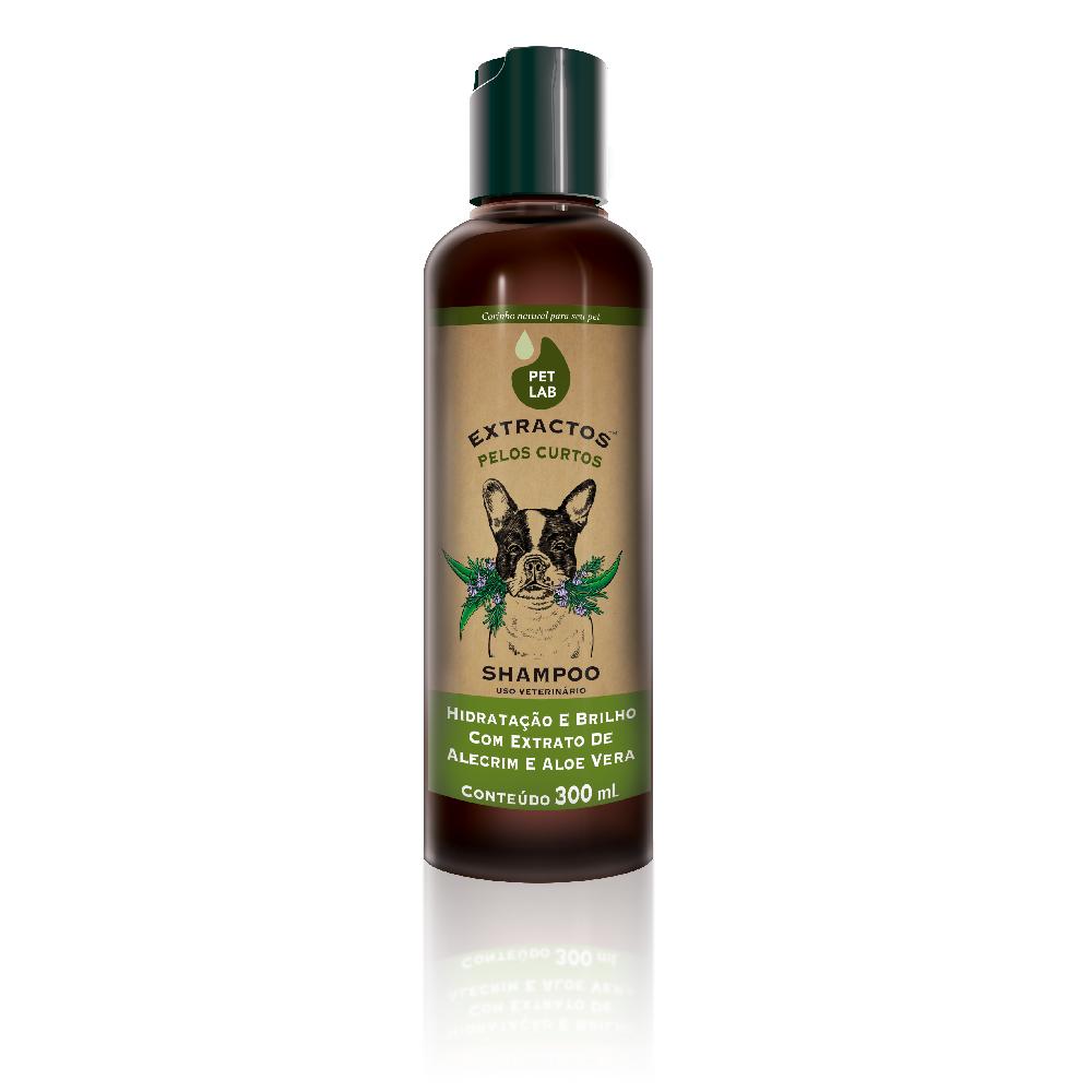 Shampoo Extractos Pelos Curtos Hidratação e Brilho com Extrato de Alecrim e Aloe Vera para Cães - Pet Lab (300ml)