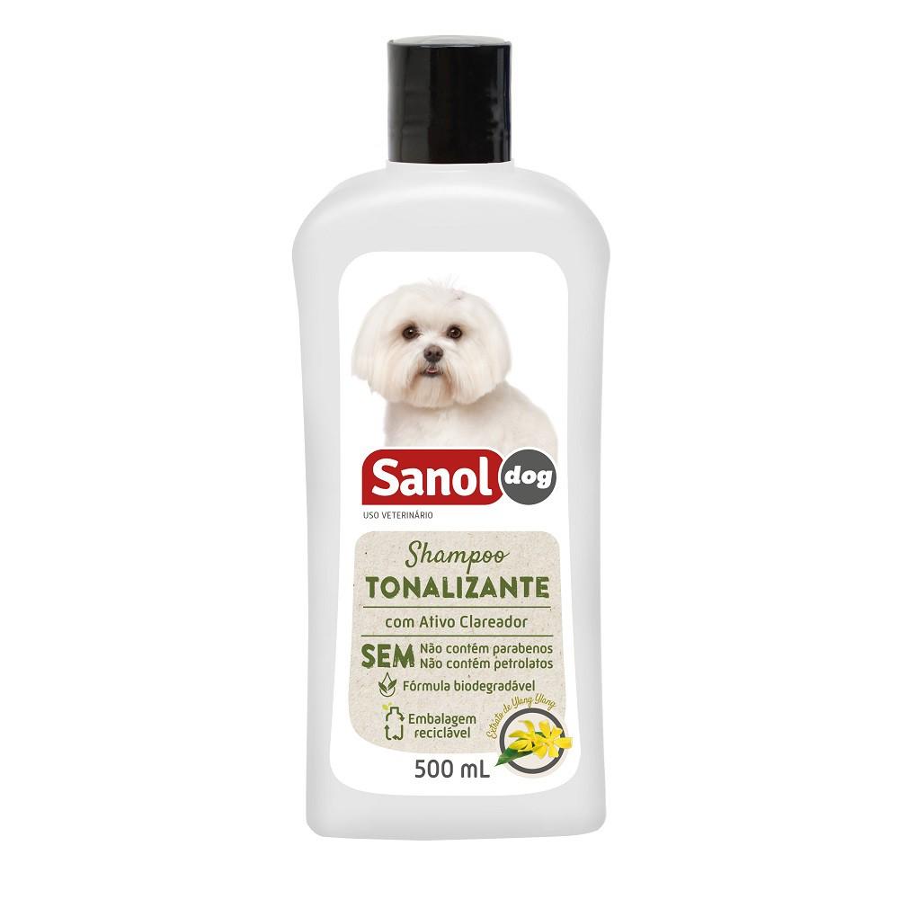 Shampoo Tonalizante Pelos Claros Sanol Dog para Cães e Gatos (500 ml) - Total Química