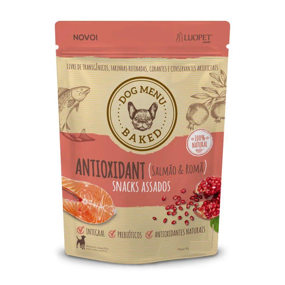 Snacks Assados Dog Menu Baked Antioxidant (Salmão e Romã) para Cães Adultos de todos os portes - Luopet (250g)