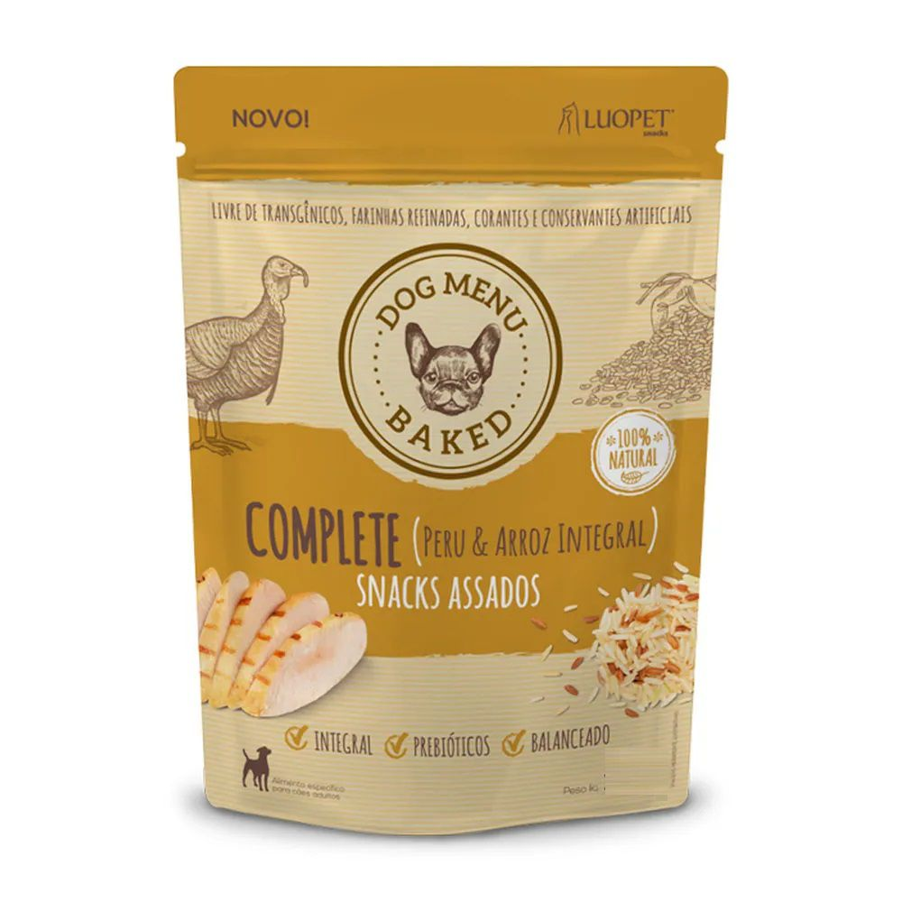 Snacks Assados Dog Menu Baked Complete (Peru e Arroz Integral) para Cães Adultos de todos os portes - Luopet (250g)