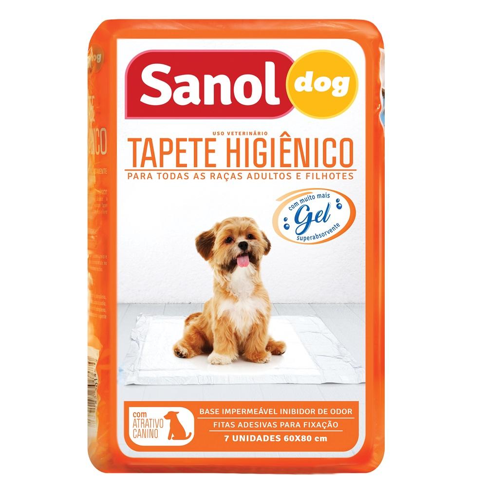 Tapete Higiênico Sanol Dog para Cães de todas as raças e idades 80 x 60 cm (7 unidades) - Total Química