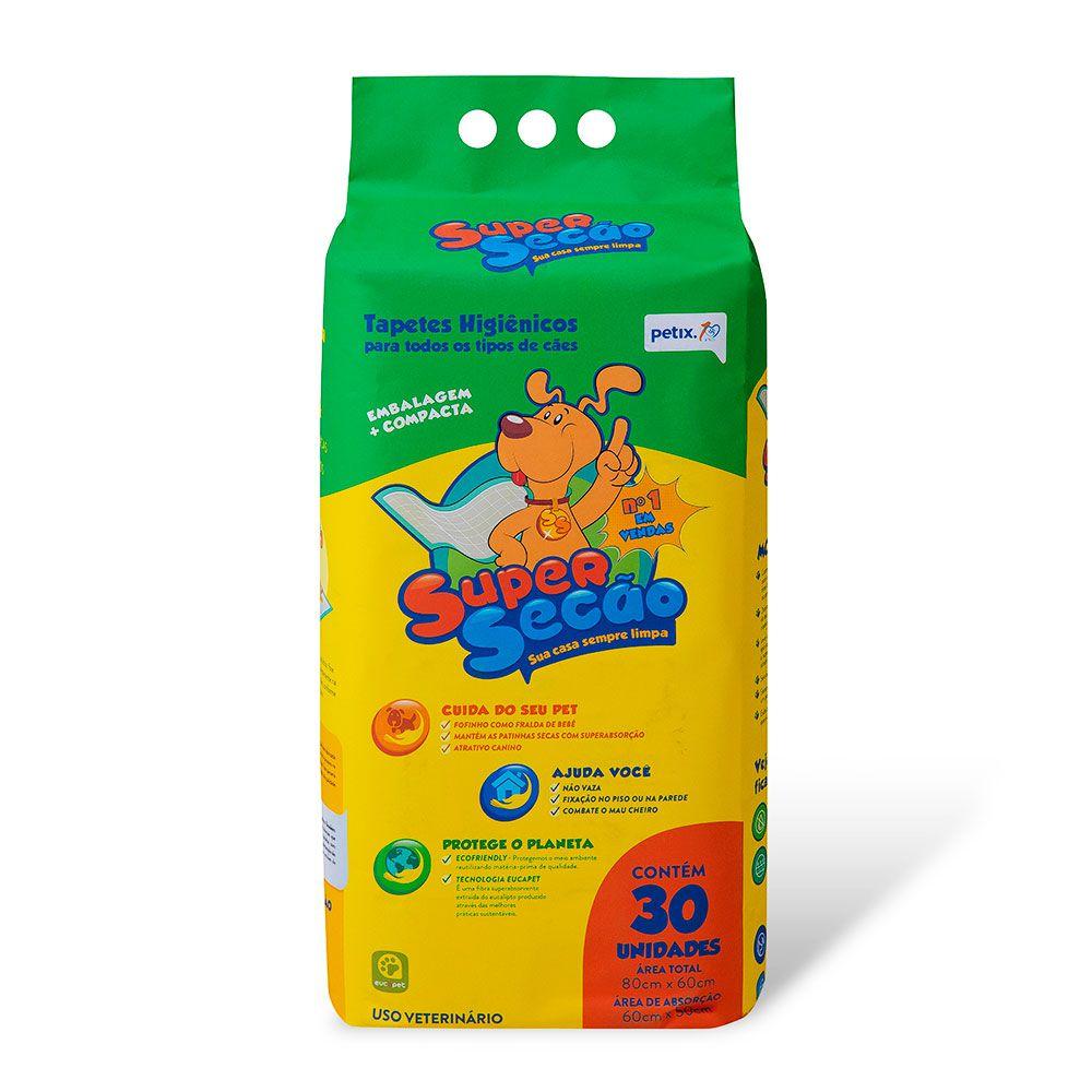 Tapete Higiênico Super Secão para Cães de todas as raças e idades 80 x 60 cm Petix (30 unidades)