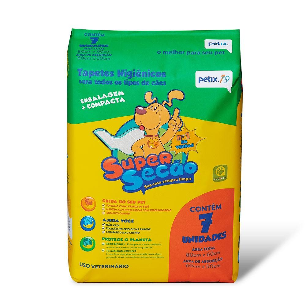 Tapete Higiênico Super Secão para Cães de todas as raças e idades 80 x 60 cm - Petix (7 unidades)