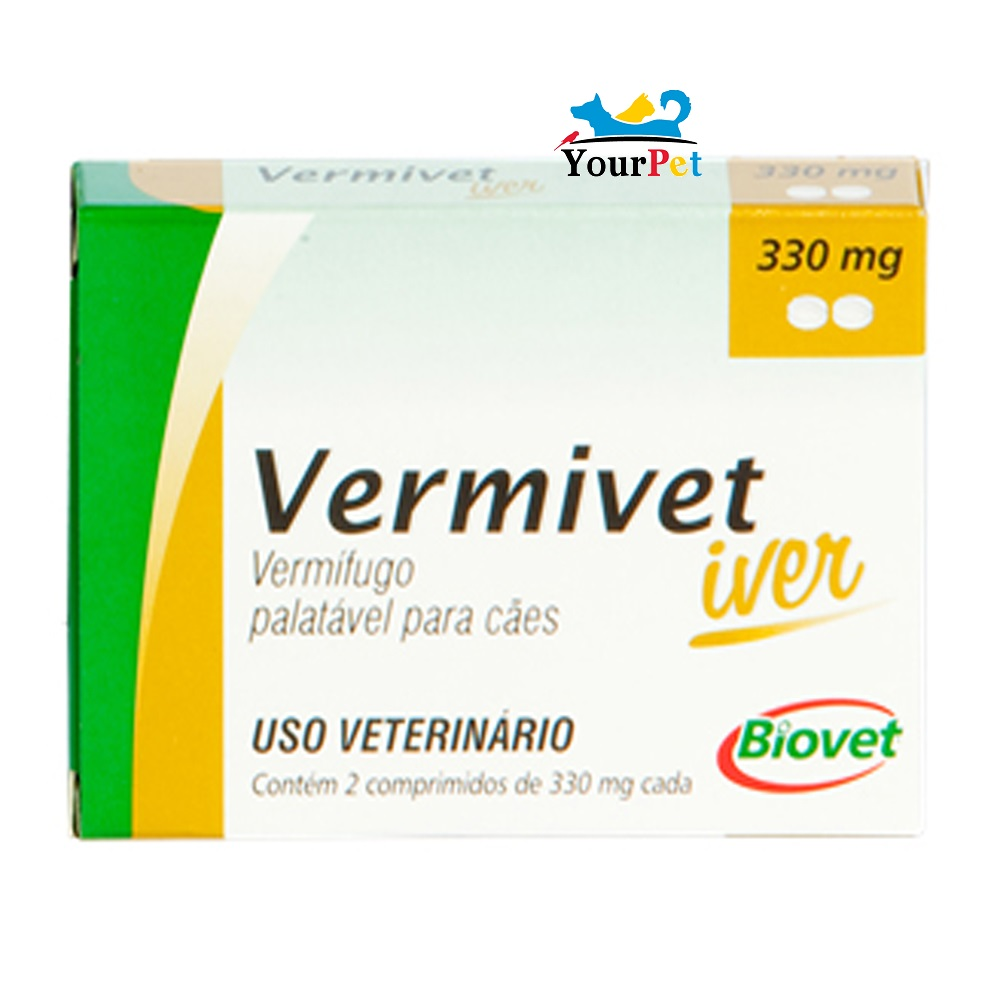 Vermivet Iver 330 mg - Vermífugo Oral de Amplo Espectro para Cães - Biovet (2 comprimidos de 330 mg cada)