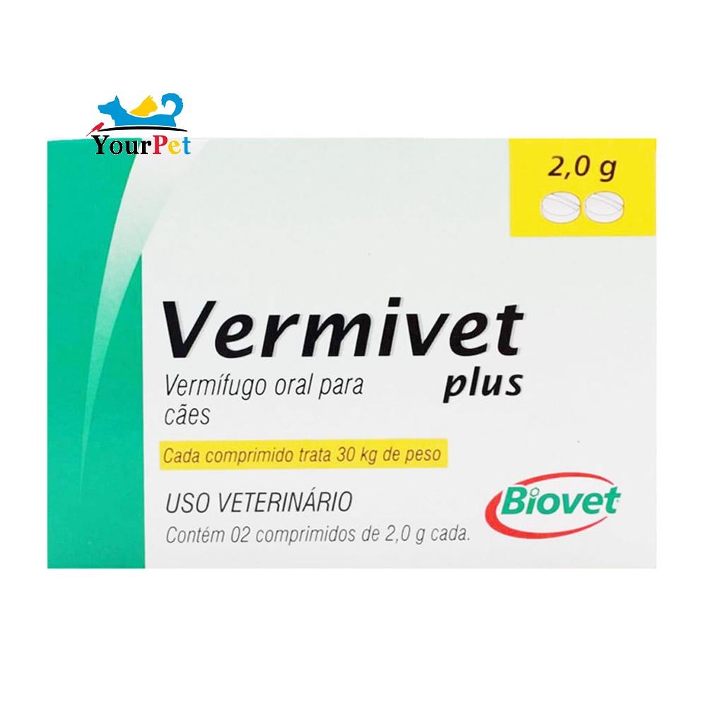 Vermivet Plus 2,0 g - Vermífugo Oral de Amplo Espectro para Cães - Biovet (2 comprimidos de 2,0 g cada)