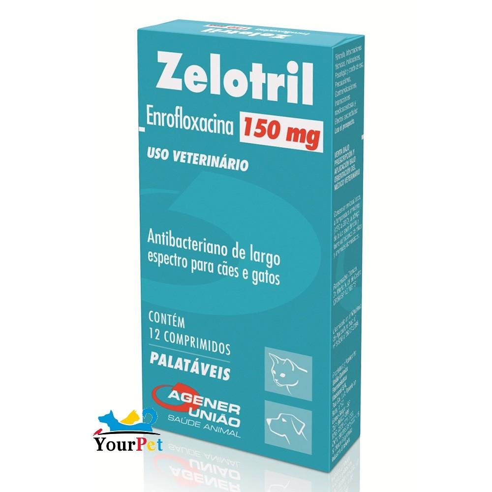 Zelotril 150 mg Antibacteriano para Cães e Gatos à base de Enrofloxacina - Agener (12 comprimidos palatáveis)