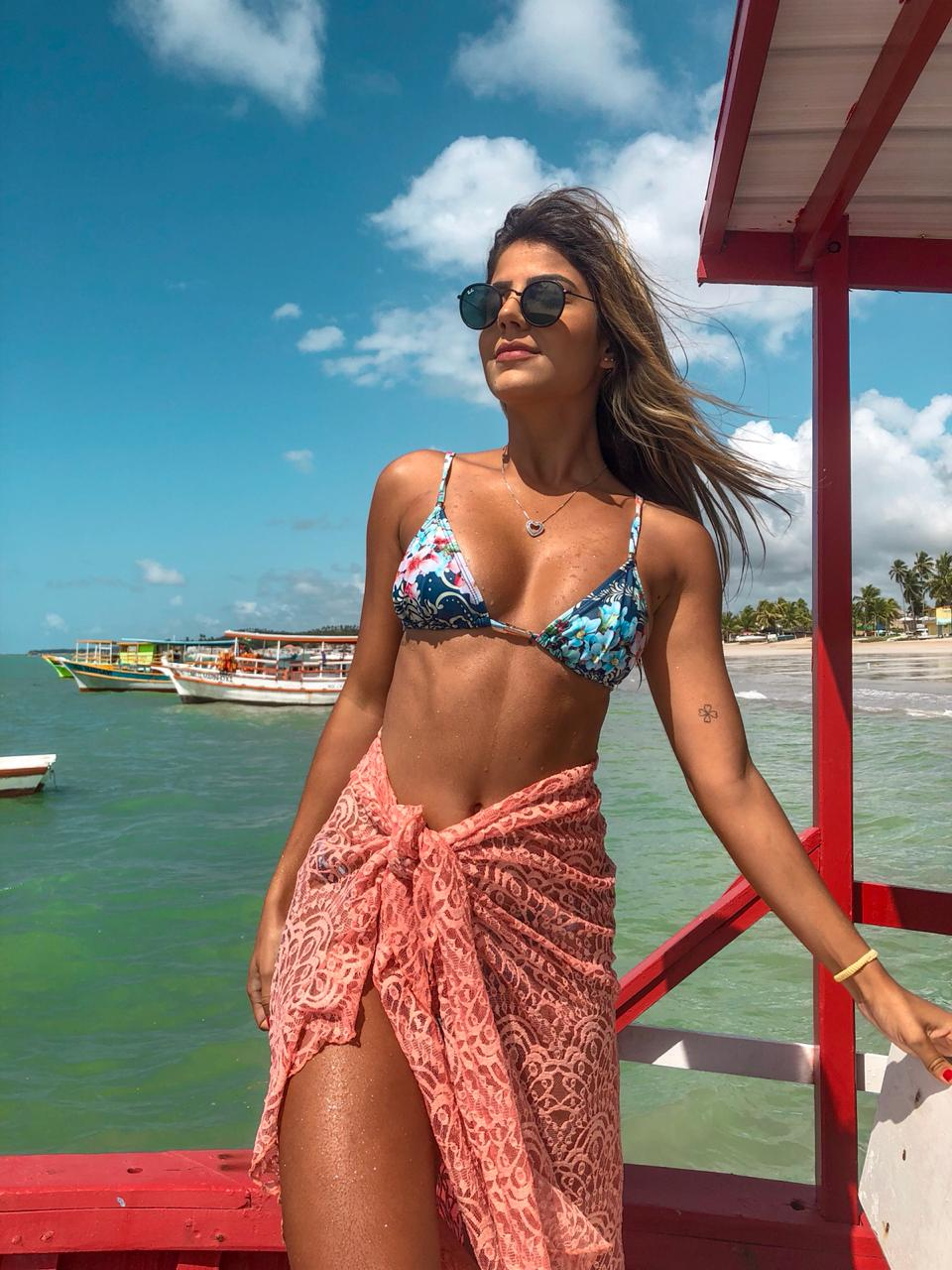 cf3f0caeec Saia Babado Longa em Renda Rosê - Belazary - Moda Praia em Goiânia ...