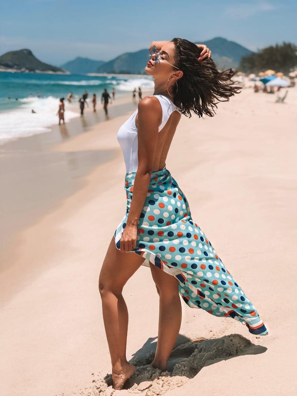 6be57b0256 Saia Babado Longa Poá e Listras - Belazary - Moda Praia em Goiânia ...