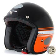 Capacete Lucca Customs Black Orange + 2 Viseiras Bolha