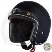 Capacete Lucca Customs Matt Black (Preto Fosco) + 2 Viseiras Bolha