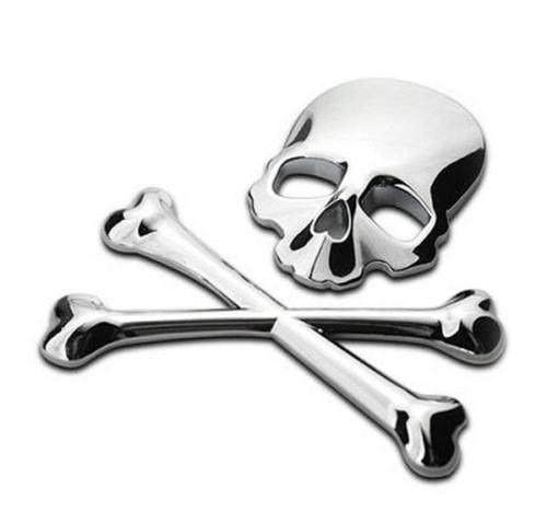 Adesivo 3D - Skull - Prata