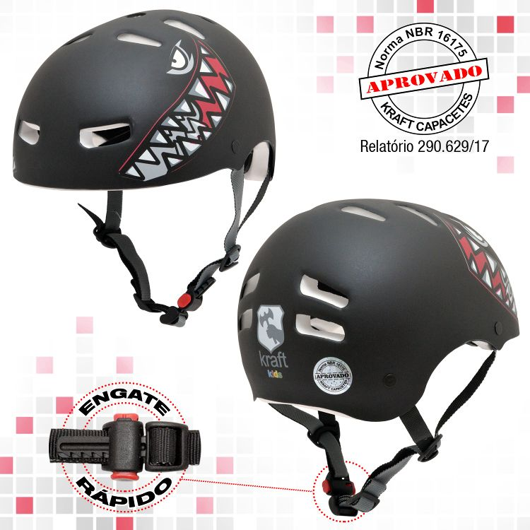 Capacete Kraft Bike Tubarão Black