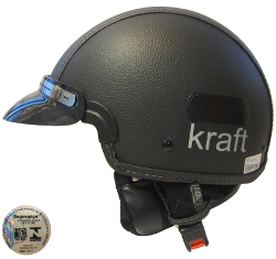 Capacete Kraft Revestido Couro Preto Custom