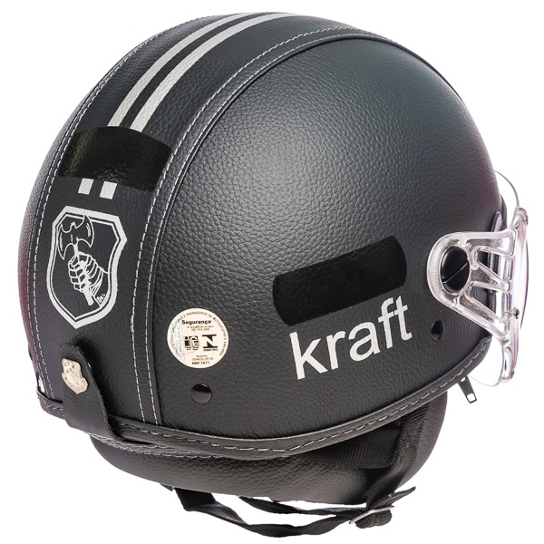 Capacete Kraft Plus Revestido Couro Preto