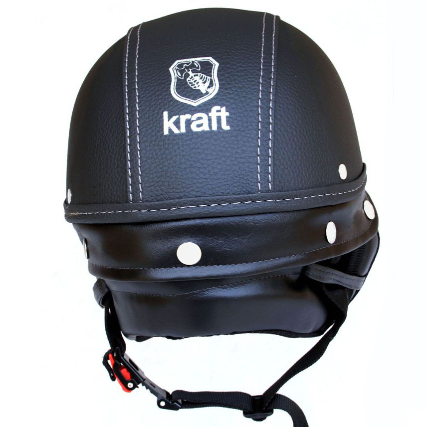 Capacete Kraft Sport Revestido Couro Preto
