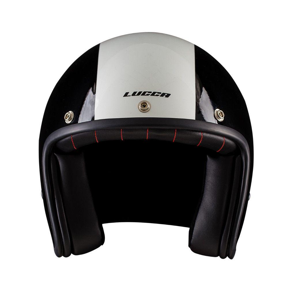Capacete Lucca Customs Glossy Black White + 2 Viseiras Bolha