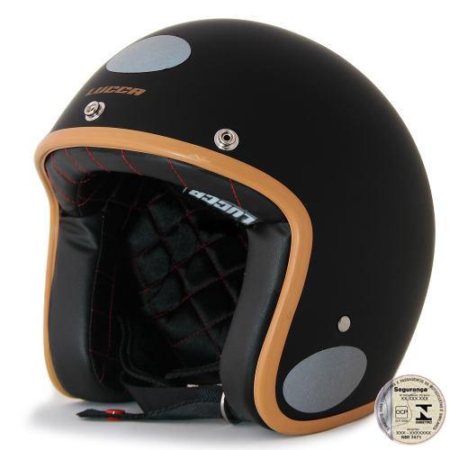 Capacete Lucca Customs Matt Black Caramel (Preto fosco) + 2 Viseiras Bolha