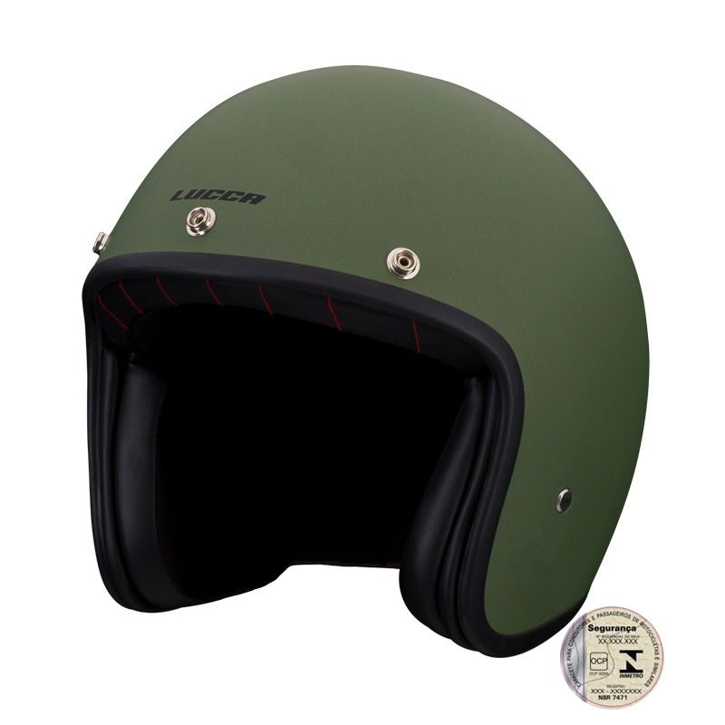 Capacete Lucca Customs Matt Black Green
