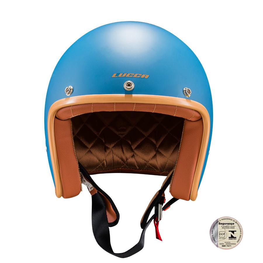 Capacete Lucca Customs Matt Blue + 2 Viseiras Bolha