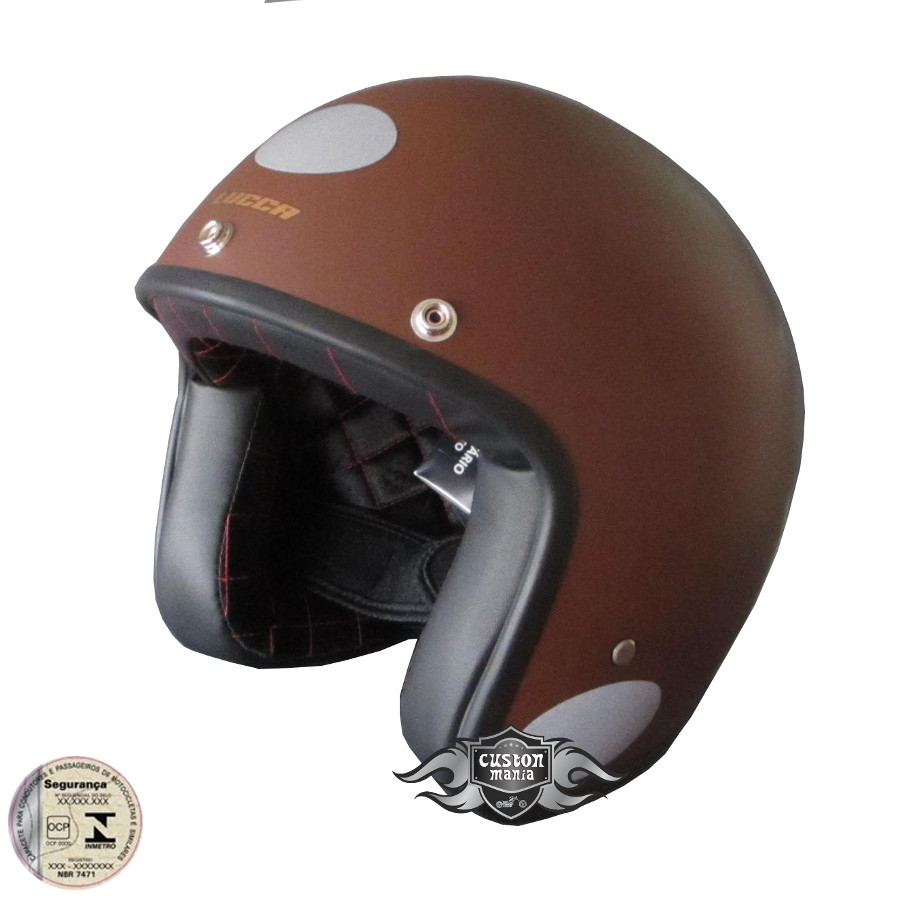 Capacete Lucca Customs Matt Brown + 2 Viseiras Bolha