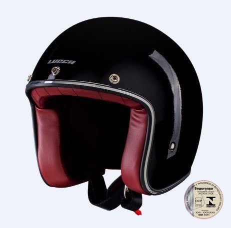 Capacete Lucca Customs New Glossy Black