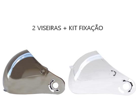 Kit Viseiras + Fixação para Capacetes Peels F21